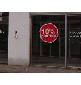 Ronde 10% korting sticker