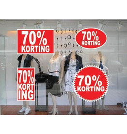 set 70% korting stickers (4 stickers)