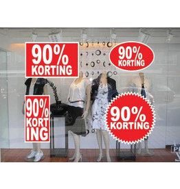set 90% korting stickers (4 stickers)
