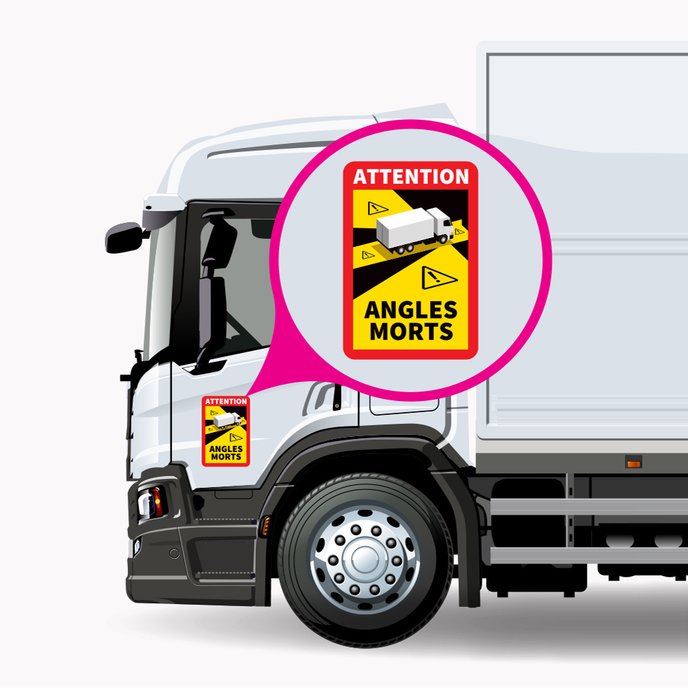 Dode hoek - Attention Angles Morts Vrachtwagen Sticker (17 x 25 cm) (Prijs = incl. BTW)