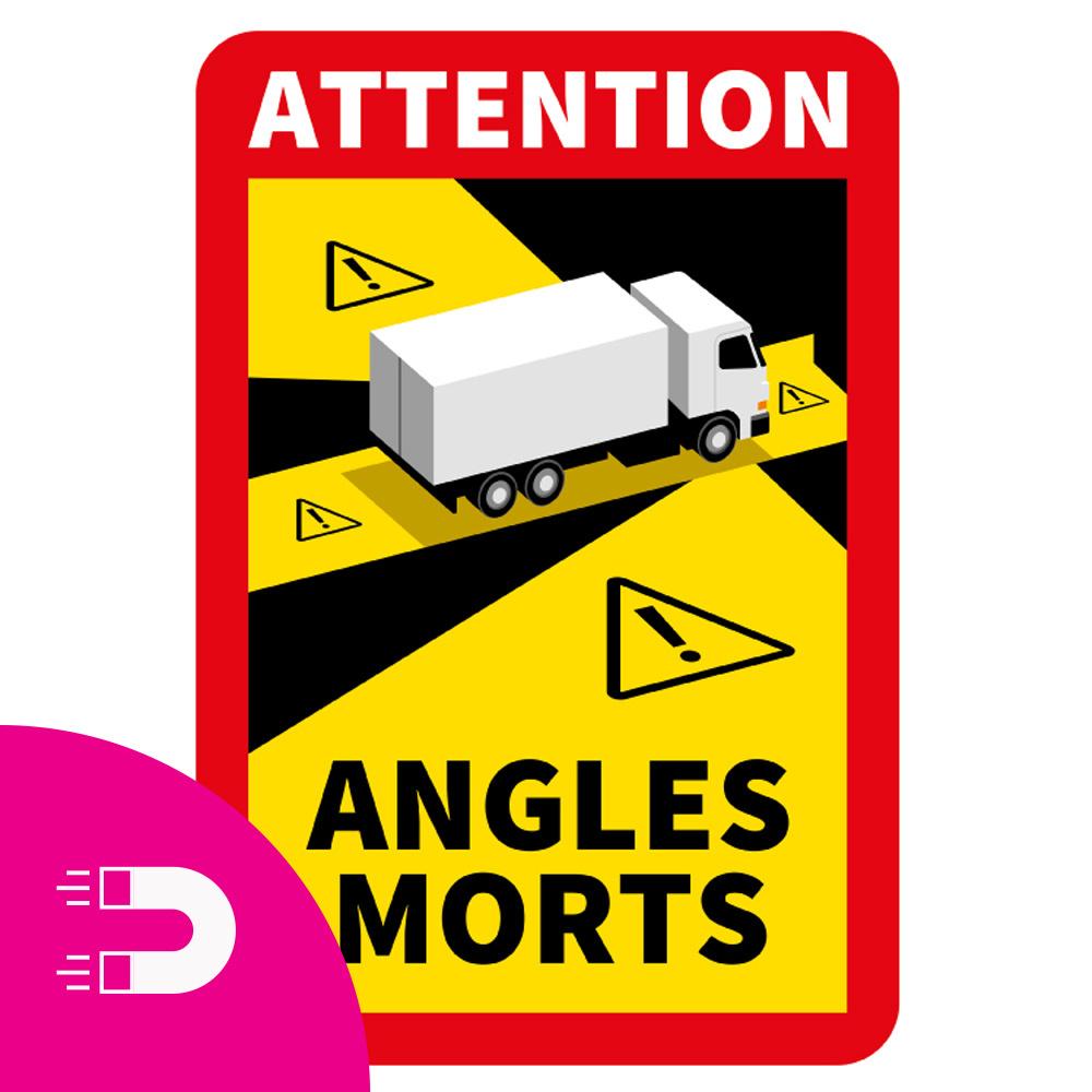 Magneetplaat Dode hoek - Attention Angles Morts Vrachtwagen (17 x 25 cm) (Prijs = incl. BTW)