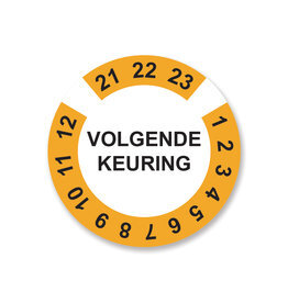 Keuring Sticker Geel/Wit