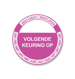 Keuring Sticker Roze/Wit