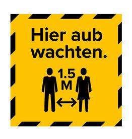 Metromark + Igepa vloerlaminaat Stembureau vloersticker hier wachten (15 x 15 CM)